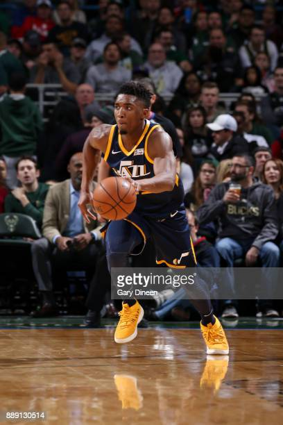 Donovan Mitchell of the Utah Jazz handles the ball against the Milwaukee Bucks on December 9 2017 at the BMO Harris Bradley Center in Milwaukee...