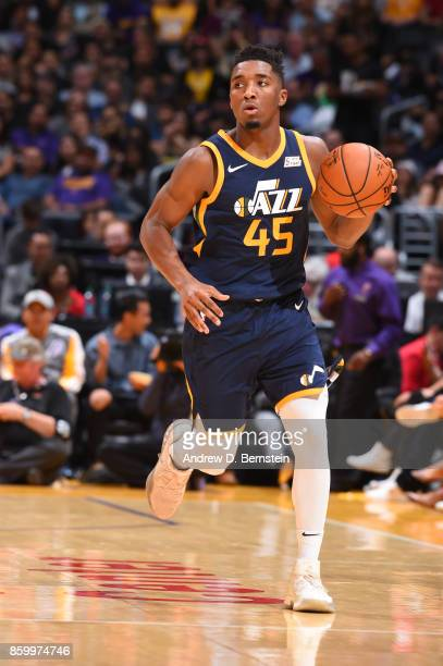 Donovan Mitchell of the Utah Jazz handles the ball against the Los Angeles Lakers during a preseason game on October 10 2017 at STAPLES Center in Los...