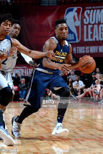 Donovan Mitchell of the Utah Jazz handles the ball against the Memphis Grizzlies on July 11 2017 at the Thomas Mack Center in Las Vegas Nevada NOTE...