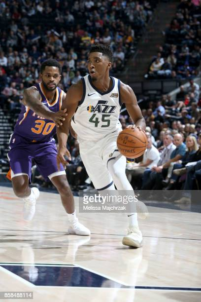 Donovan Mitchell of the Utah Jazz handles the ball against the Phoenix Suns on October 6 2017 at vivintSmartHome Arena in Salt Lake City Utah NOTE TO...