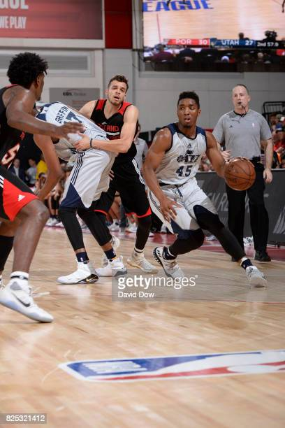 Donovan Mitchell of the Utah Jazz handles the ball during the game against the Portland Trail Blazers during the 2017 Summer League on July 8 2017 at...
