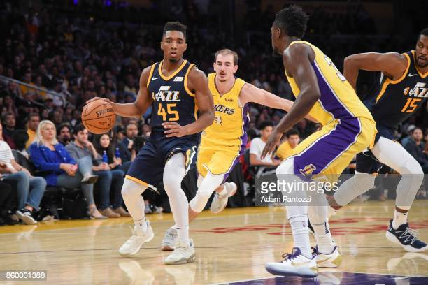 Donovan Mitchell of the Utah Jazz handles the ball during the preseason game against the Los Angeles Lakers on October 10 2017 at STAPLES Center in...