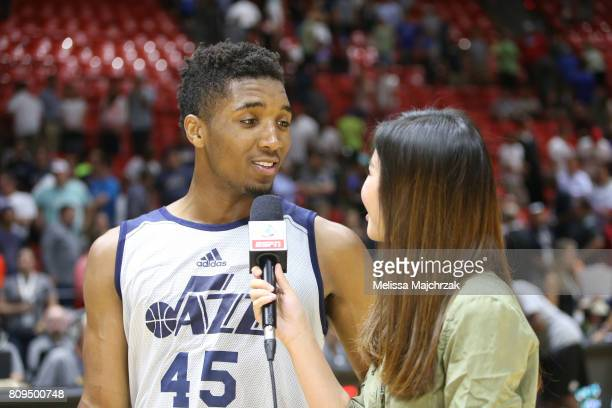 Donovan Mitchell of the Utah Jazz is interviewed after defeating the Philadelphia 76ers on July 5 2017 during the 2017 NBA Utah Summer League game at...