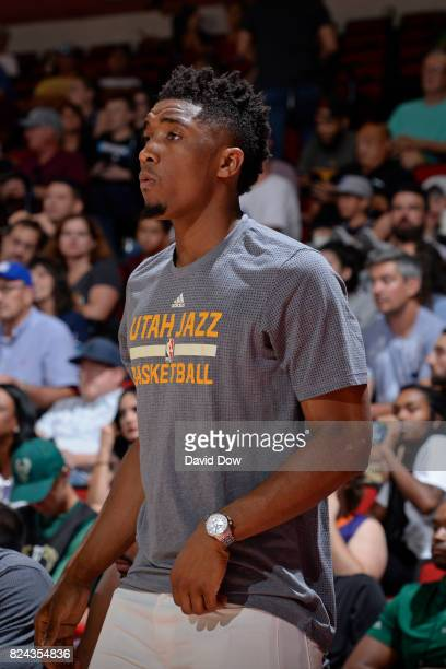 Donovan Mitchell of the Utah Jazz looks on during the game between the Utah Jazz and the Los Angeles Clippers during the 2017 Las Vegas Summer League...