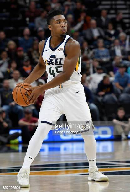 Donovan Mitchell of the Utah Jazz looks to pass the ball against the Sydney Kings at Vivint Smart Home Arena on October 2 2017 in Salt Lake City Utah...