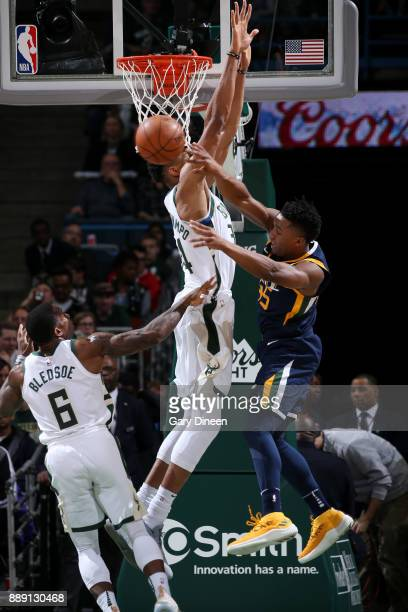 Donovan Mitchell of the Utah Jazz passes the ball against the Milwaukee Bucks on December 9 2017 at the BMO Harris Bradley Center in Milwaukee...