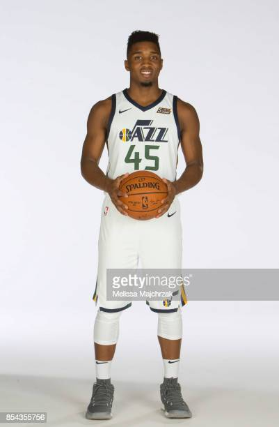 Donovan Mitchell of the Utah Jazz poses for a photo during media day at Zions Bank Basketball Center on September 25 2017 in Salt Lake City Utah NOTE...