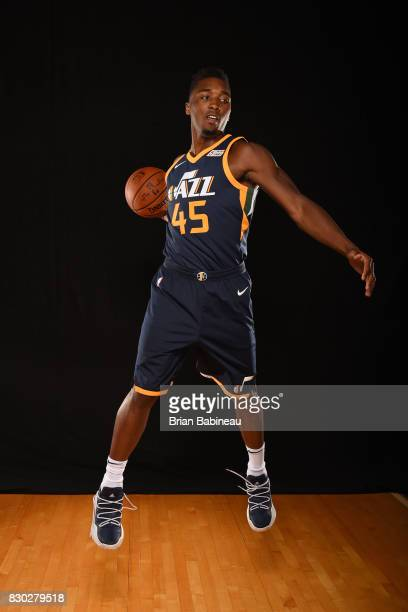 Donovan Mitchell of the Utah Jazz poses for a photo during the 2017 NBA Rookie Photo Shoot at MSG training center on August 11 2017 in Tarrytown New...