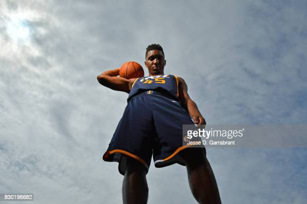 Donovan Mitchell of the Utah Jazz poses for a portrait during the 2017 NBA rookie photo shoot on August 11 2017 at the Madison Square Garden Training...