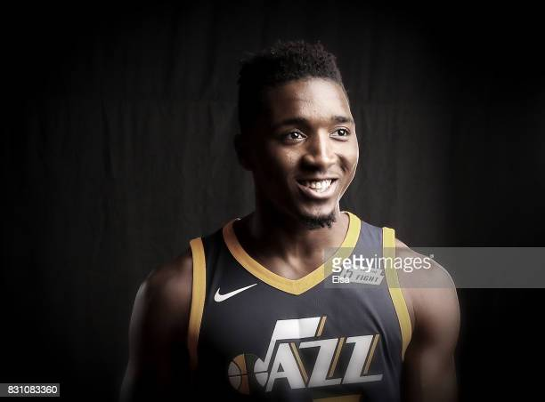 Donovan Mitchell of the Utah Jazz poses for a portrait during the 2017 NBA Rookie Photo Shoot at MSG Training Center on August 11 2017 in Greenburgh...