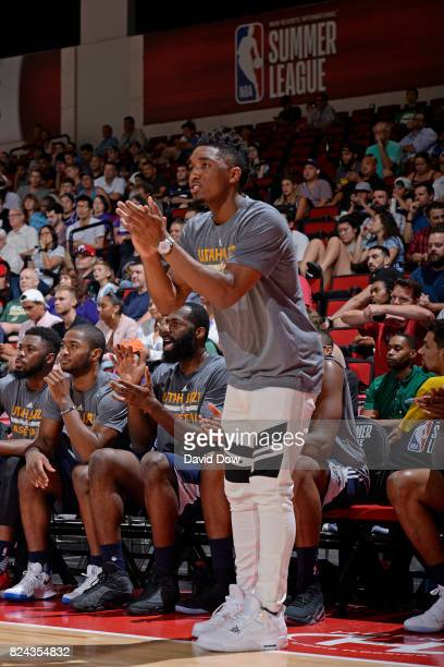 Donovan Mitchell of the Utah Jazz reacts during the game between the Utah Jazz and the Los Angeles Clippers during the 2017 Las Vegas Summer League...