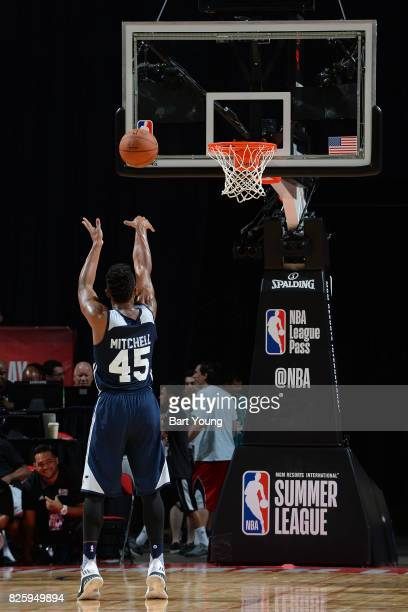 Donovan Mitchell of the Utah Jazz shoots a foul shot during the 2017 NBA Las Vegas Summer League game against the Memphis Grizzlies on July 11 2017...