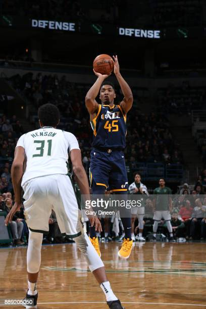 Donovan Mitchell of the Utah Jazz shoots the ball against the Milwaukee Bucks on December 9 2017 at the BMO Harris Bradley Center in Milwaukee...