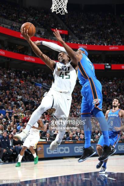 Donovan Mitchell of the Utah Jazz shoots the ball against the Oklahoma City Thunder during the game on October 21 2017 at vivintSmartHome Arena in...