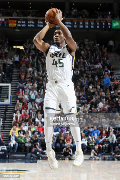 Donovan Mitchell of the Utah Jazz shoots the ball against the Phoenix Suns on October 6 2017 at vivintSmartHome Arena in Salt Lake City Utah NOTE TO...