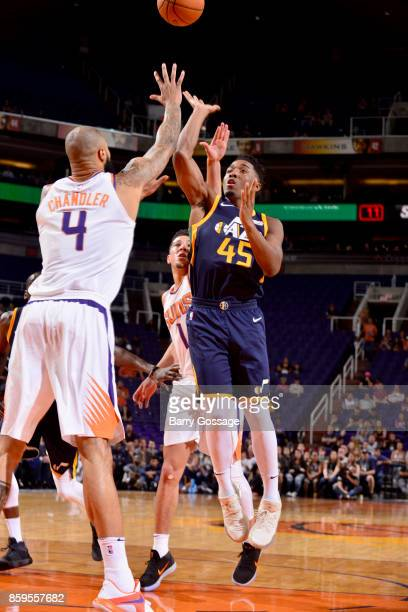 Donovan Mitchell of the Utah Jazz shoots the ball against the Phoenix Suns on October 9 2017 at Talking Stick Resort Arena in Phoenix Arizona NOTE TO...