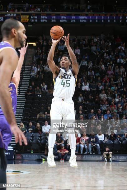 Donovan Mitchell of the Utah Jazz shoots the ball against the Sydney Kings during a preseason game on October 2 2017 at vivintSmartHome Arena in Salt...