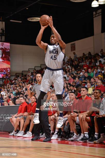 Donovan Mitchell of the Utah Jazz shoots the ball during the game against the Portland Trail Blazers during the 2017 Summer League on July 8 2017 at...