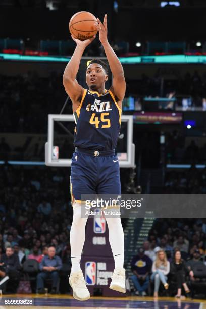 Donovan Mitchell of the Utah Jazz shoots the ball during the preseason game against the Los Angeles Lakers on October 10 2017 at STAPLES Center in...