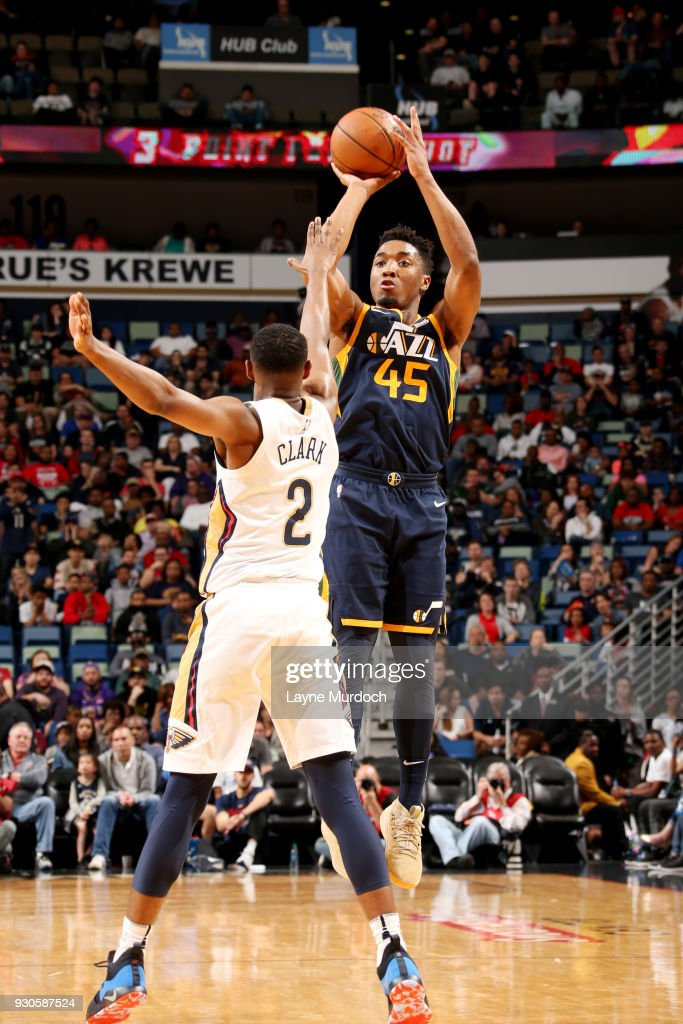 Donovan Mitchell #45 of the Utah Jazz shoots the ball during the game against the New Orleans Pelicans on March 11, 2018 at the Smoothie King Center in New Orleans, Louisiana.