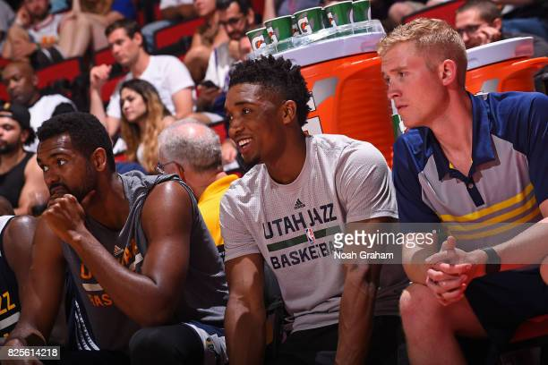 Donovan Mitchell of the Utah Jazz sits on the bench during the 2017 Las Vegas Summer League game against the Phoenix Suns on July 12 2017 at the Cox...