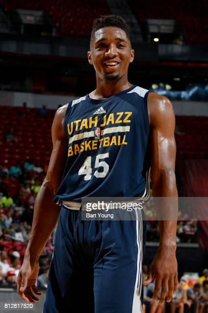 Donovan Mitchell of the Utah Jazz smiles during the game against the Memphis Grizzlies on July 11 2017 at the Thomas Mack Center in Las Vegas Nevada...