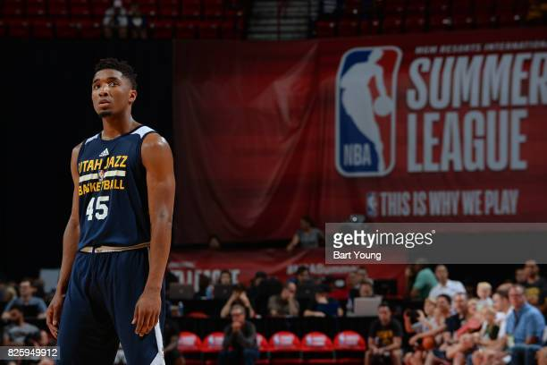 Donovan Mitchell of the Utah Jazz stands on the court during the 2017 NBA Las Vegas Summer League game against the Memphis Grizzlies on July 11 2017...