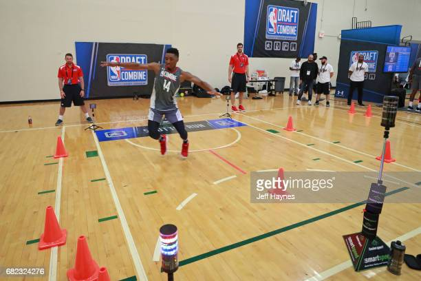 Donovan Mitchell participates in the shuttle run during the NBA Draft Combine at the Quest Multisport Center on May 11 2017 in Chicago Illinois NOTE...