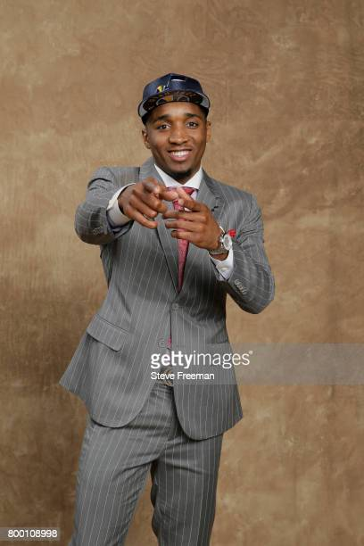 Donovan Mitchell poses for a portrait after being selected thirteen overall by the Utah Jazz during the 2017 NBA Draft on June 22 2017 at Barclays...
