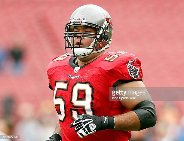 Donovan Raiola of the Buccaneers before the game between the Detroit Lions and the Tampa Bay Buccaneers at Raymond James Stadium in Tampa FL