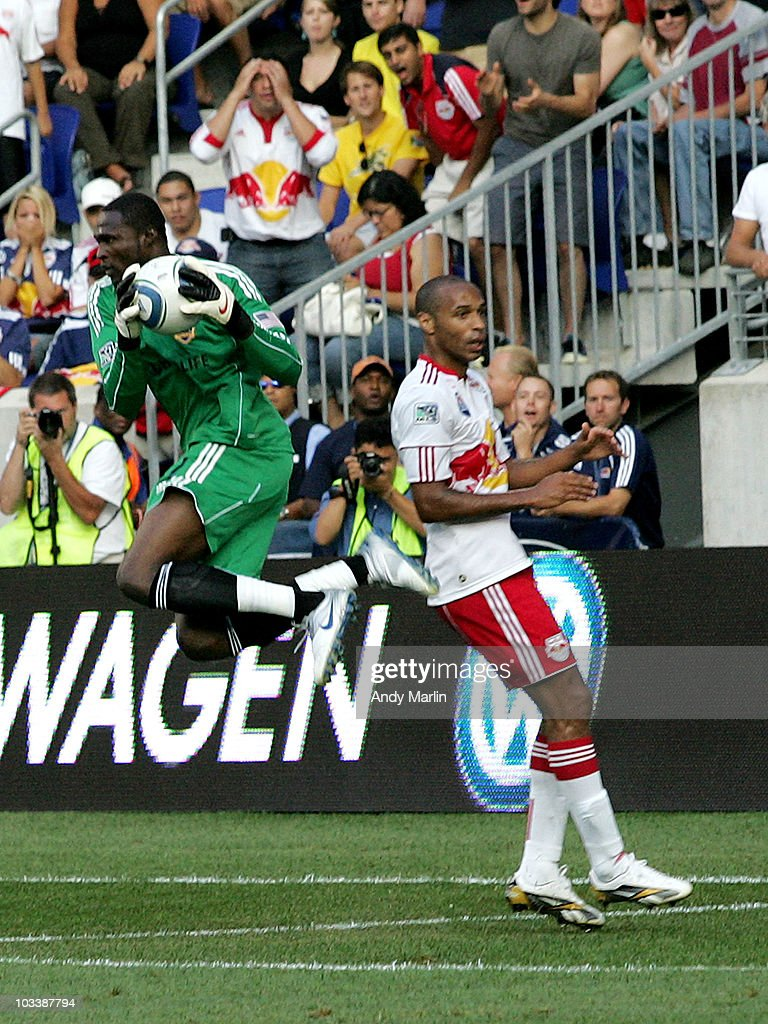 Donovan Ricketts #1 of Los the Angeles Galaxy makes a save against the New York Red Bulls during the game at Red Bull Arena on August 14, 2010 in Harrison, New Jersey. The Galaxy defeated the Red Bulls 1-0.