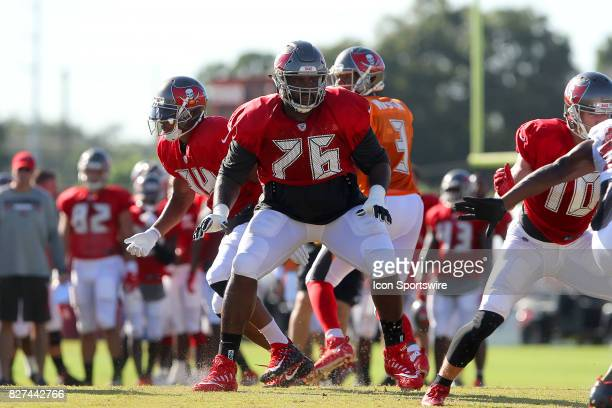 Donovan Smith sets up to block during the Tampa Bay Buccaneers Training Camp on August 2017 at One Buccaneer Place in Tampa Florida