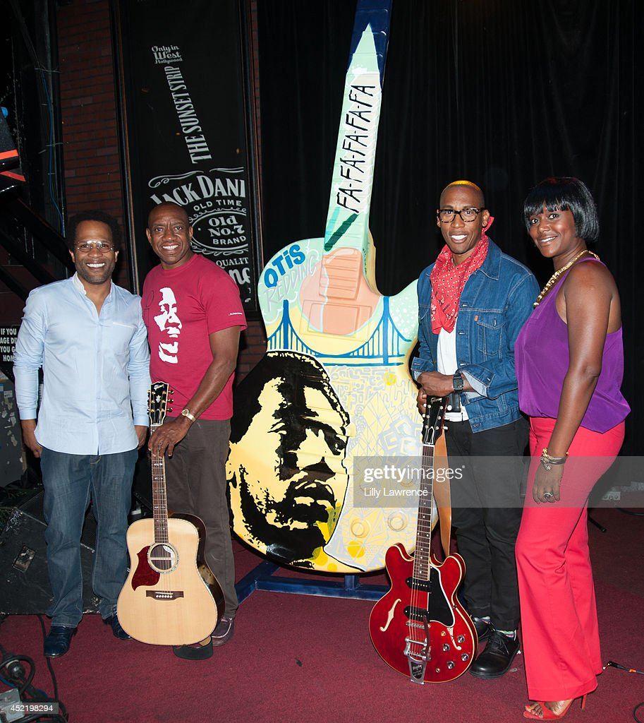 Donray Von, Otis Redding III, Raphael Saadiq and Erika Conner attend the Sunset Strip art guitar tribute to Otis Redding atThe Whiskey A Go Go on July 15, 2014 in West Hollywood, California.