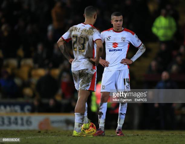 MK Dons' Dele alli and Jonson ClarkeHarris stand dejected after the Bradford second goal