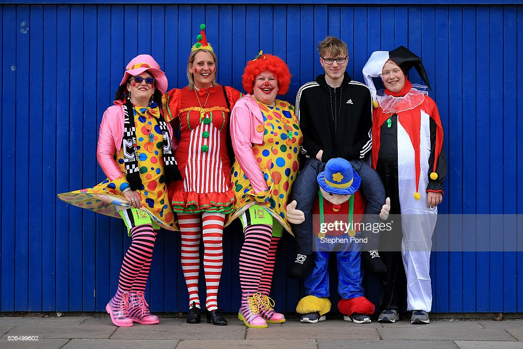 MK Dons fans arrive in fancy dress ahead of the Sky Bet Championship match between Ipswich Town and Milton Keynes Dons at Portman Road on April 30, 2016 in Ipswich, England.