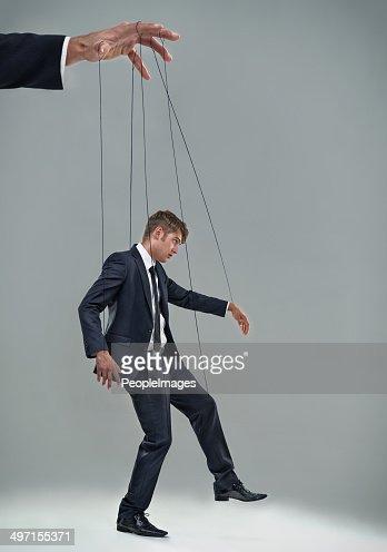 Lass aber nicht zu, eine corporate Puppentheater-Figur