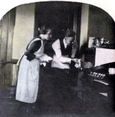 'Don't burn the dinner' late 19th century Stereoscopic card Detail