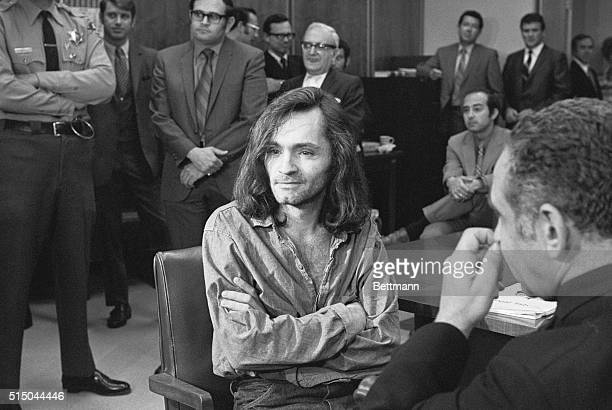 'I Don't Have Any Guilt' said longhaired hippie chieftain Charles Manson in brief press conference in courtroom here June 18 where a hearing to...