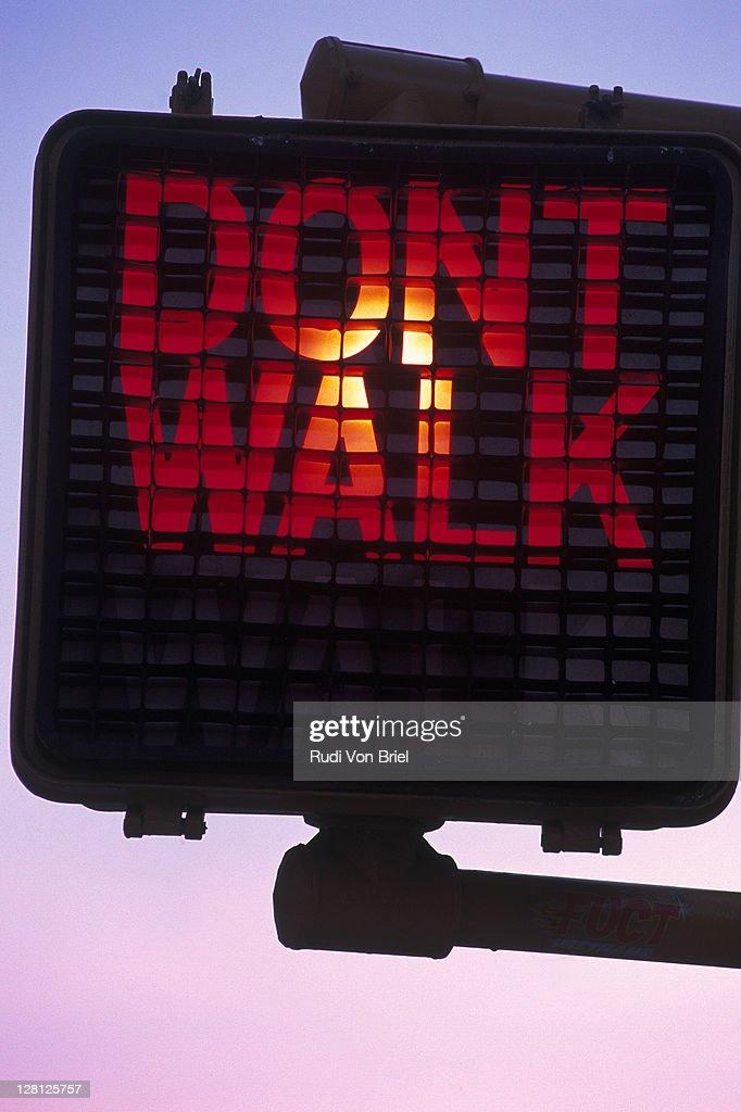 Dont Walk crosswalk signal, NYC : Stock Photo