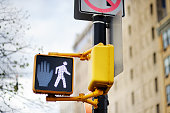 Don't walk New York traffic sign on blurred background