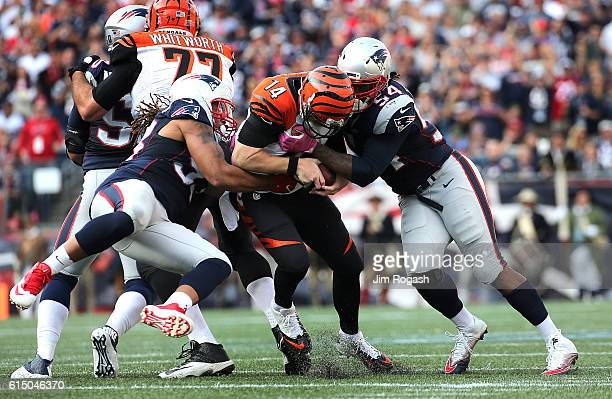 Dont'a Hightower of the New England Patriots and Jabaal Sheard sack Andy Dalton of the Cincinnati Bengals in the second half at Gillette Stadium on...