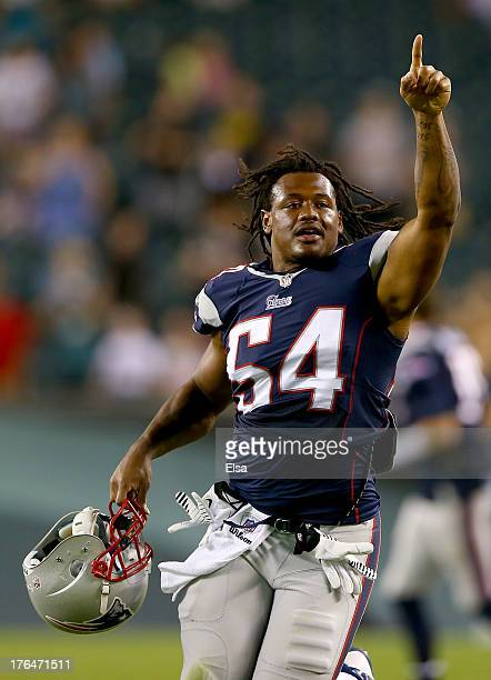 Dont'a Hightower of the New England Patriots celebrates the win over the Philadelphia Eagles on August 9 2013 at Lincoln Financial Field in...