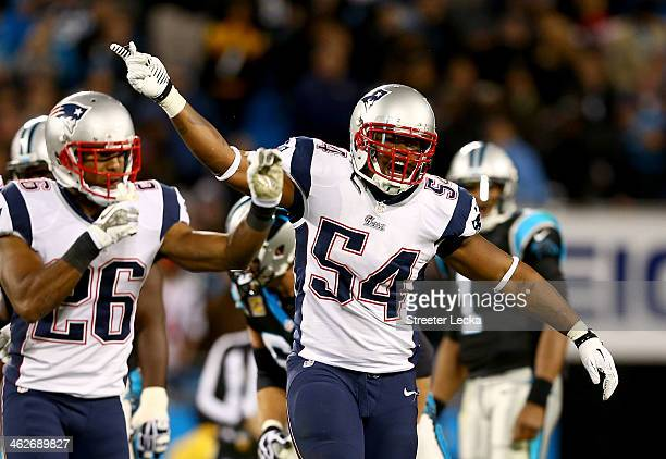 Dont'a Hightower of the New England Patriots during their game at Bank of America Stadium on November 18 2013 in Charlotte North Carolina