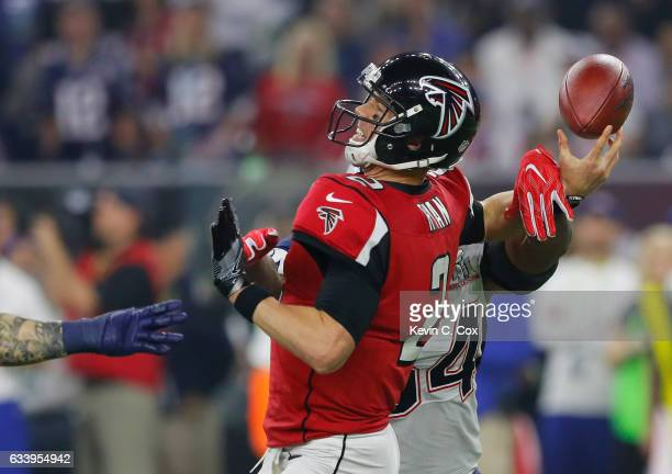 Dont'a Hightower of the New England Patriots forces a fumble from Matt Ryan of the Atlanta Falcons during the fourth quarter during Super Bowl 51 at...