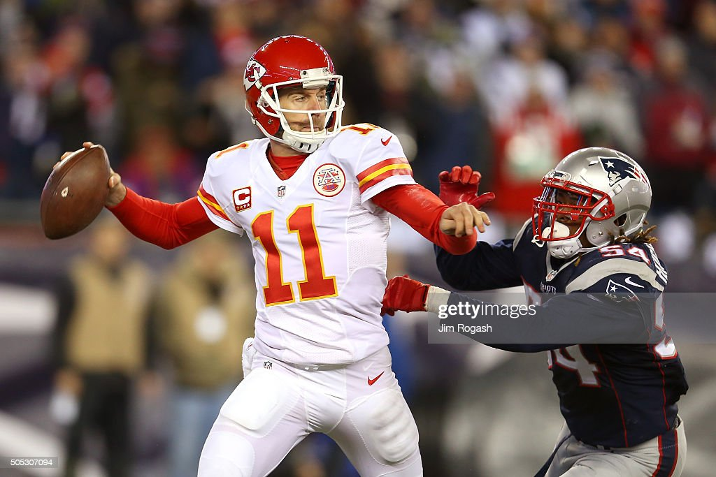 Dont'a Hightower of the New England Patriots pressures Alex Smith of the Kansas City Chiefs in the second half during the AFC Divisional Playoff Game...