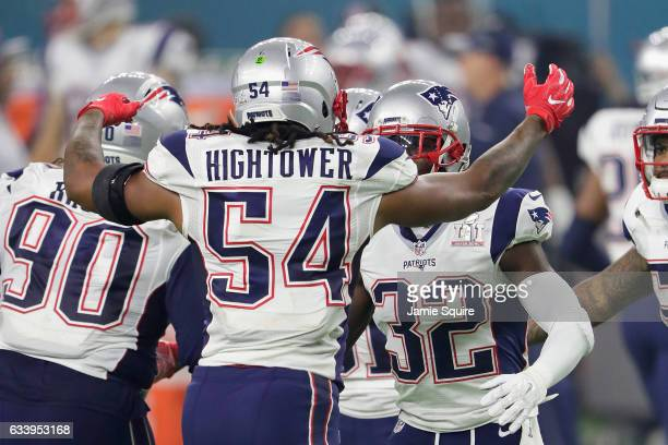 Dont'a Hightower of the New England Patriots reacts after a sack on Matt Ryan of the Atlanta Falcons during Super Bowl 51 at NRG Stadium on February...