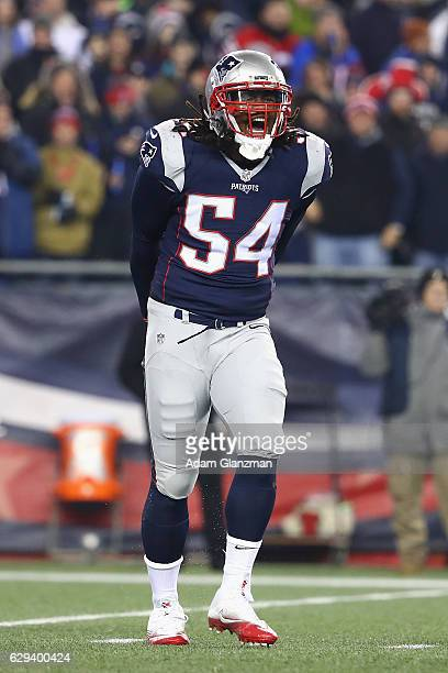 Dont'a Hightower of the New England Patriots reacts during the first half against the Baltimore Ravens at Gillette Stadium on December 12 2016 in...