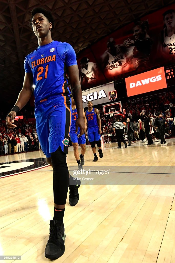 Dontay Bassett #21 of the Florida Gators walks off the court after the Gators' loss to the Georgia Bulldogs in the basketball game at Stegeman Coliseum on January 30, 2018 in Athens, Georgia.