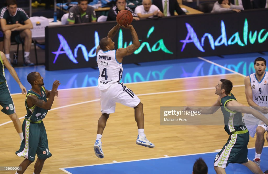 Dontaye Draper, #4 of Real Madrid in action during the 2012-2013 Turkish Airlines Euroleague Top 16 Date 4 between Unicaja Malaga v Real Madrid at Palacio Deportes Martin Carpena on January 17, 2013 in Malaga, Spain.