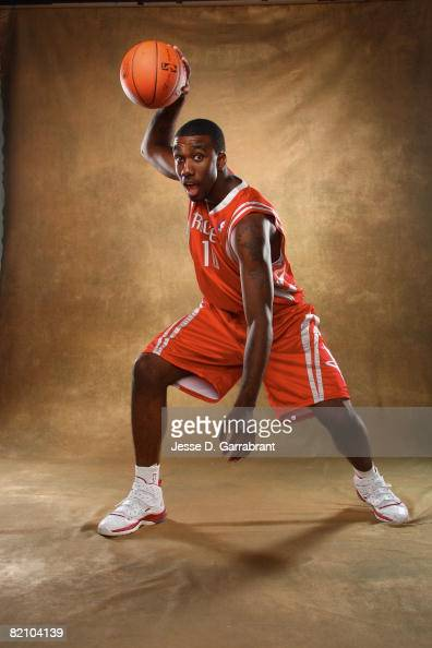 Donte Greene of the Houston Rockets poses for a portrait during the 2008 NBA Rookie Photo Shoot on July 29 2008 at the MSG Training Facility in...